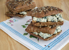 Sandwich with cheese Roquefort Royalty Free Stock Photo