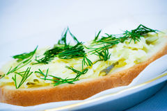 Sandwich with cheese, salted cucumber and dill Stock Photo