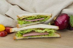 Sandwich with cheese and sausages Royalty Free Stock Photography