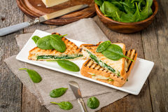 Sandwich with cheese and spinach Royalty Free Stock Photography