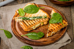Sandwich with cheese and spinach Royalty Free Stock Photo