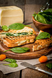 Sandwich with cheese and spinach Stock Photo