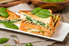 sandwich with cheese and spinach Royalty Free Stock Photos