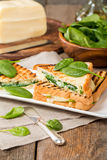 Sandwich with cheese and spinach Royalty Free Stock Image