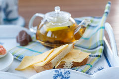 Sandwich with cheese and tea Royalty Free Stock Photo