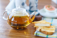 Sandwich with cheese and tea Royalty Free Stock Image