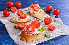 Sandwich with cheese, tomato and Basil Stock Photo
