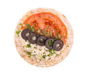 Sandwich with cheese, tomato and olives Royalty Free Stock Images
