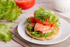 Sandwich with cheese, tomato and salmon, close-up Stock Photos