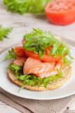 Sandwich with cheese, tomato and salmon, close-up Royalty Free Stock Images