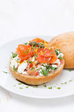Sandwich with cheese, tomato, salmon on plate Royalty Free Stock Photo