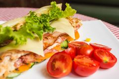 Sandwich with chicken and bacon. Stock Image