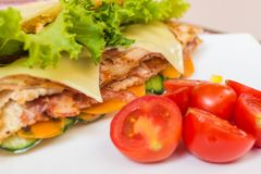 Sandwich with chicken and bacon. Royalty Free Stock Photography