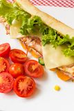 Sandwich with chicken and bacon. Royalty Free Stock Photo