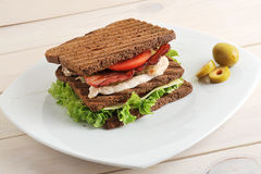 Sandwich with chicken and bacon on plate Stock Images