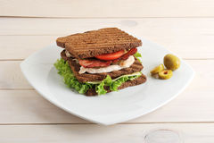 Sandwich with chicken and bacon on plate Royalty Free Stock Photos