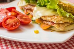Sandwich with chicken and bacon. Royalty Free Stock Image