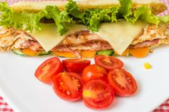 Sandwich with chicken and bacon. Stock Images