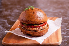 Sandwich with chicken burger, tomate souce and pickled cucumber. Close up, horizontal Stock Images