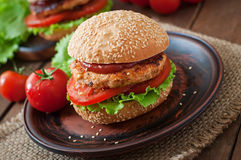 Sandwich with chicken burger Stock Photos