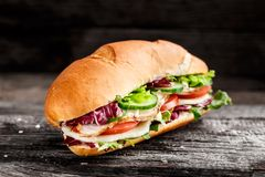 Sandwich with chicken, cheese and vegetables Stock Image