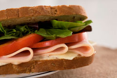 Sandwich chicken ham. Healthy chicken ham sandwich with tomatoes and lettuce. Low fat, low calories Stock Photos
