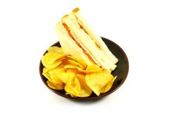 Sandwich and Chips Meal Combo Royalty Free Stock Images