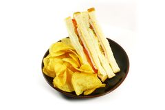Sandwich and Chips Meal Combo. On a White Background royalty free stock image