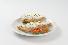 Sandwich with chives spread Stock Photography