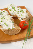 Sandwich with chives spread Royalty Free Stock Photography