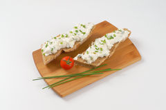 Sandwich with chives spread Stock Images