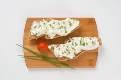 Sandwich with chives spread Royalty Free Stock Image