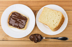 Sandwich with chocolate cheese and bread in white plates Stock Photos