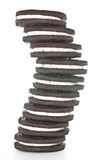 Sandwich Chocolate Cookies. Twisted tower of sandwich chocolate cookies with cream Stock Image