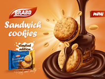 Sandwich chocolate cookies ad Royalty Free Stock Images