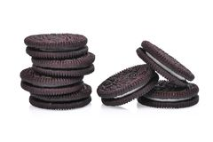 Sandwich chocolate cookies with cream on white Royalty Free Stock Images