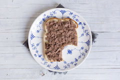 Sandwich with chocolate sprinkles or `vlokken` Stock Images
