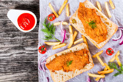 Sandwich with ciabatta and Bread Crumb Coated fried pork chop Royalty Free Stock Image