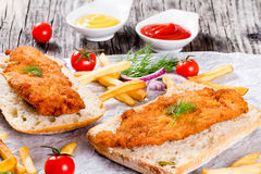 Sandwich with ciabatta and Bread Crumb Coated fried pork chop Stock Photography