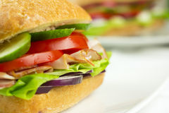 Sandwich close up. With defocused background for a copy space Stock Photo