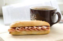 Sandwich and coffee Royalty Free Stock Photos