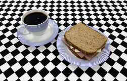 Sandwich with coffee Stock Photos