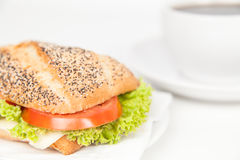 Sandwich and coffee Stock Images
