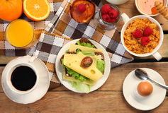 Sandwich with coffee royalty free stock photography