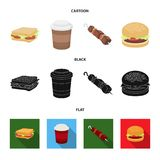 Sandwich, coffee, shish kebab, burger.Fast food set collection icons in cartoon,black,flat style vector symbol stock. Illustration Stock Photography