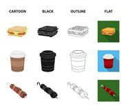 Sandwich, coffee, shish kebab, burger.Fast food set collection icons in cartoon,black,outline,flat style vector symbol. Stock illustration Stock Photo