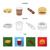 Sandwich, coffee, shish kebab, burger.Fast food set collection icons in cartoon,outline,flat style vector symbol stock. Illustration Stock Photo