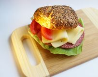 Sandwich con formaggio ed il pomodoro Fotografie Stock