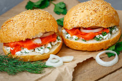 Sandwich con i salmoni Fotografie Stock