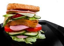 Sandwich isolato su fondo in bianco e nero immagine stock